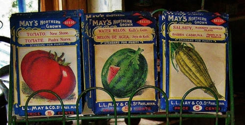 Vintage seed packets, Kilby Farm, Harrison Mills, B.C.